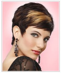 Model with short hair and highlights